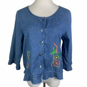 CB Casual Blue Denim Embroidered Cropped Shirt